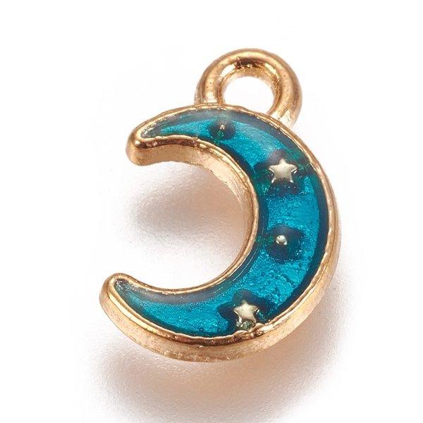 Moon Charm Gold Aqua Blue 11.5x7.5mm