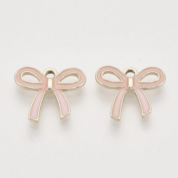 Bowknot Charm Gold Pink 16x18mm