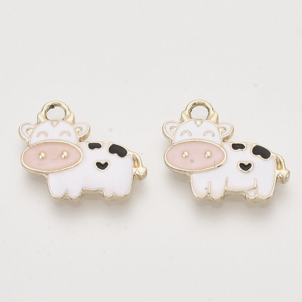 Cow Charm Gold Pink White 16x19mm