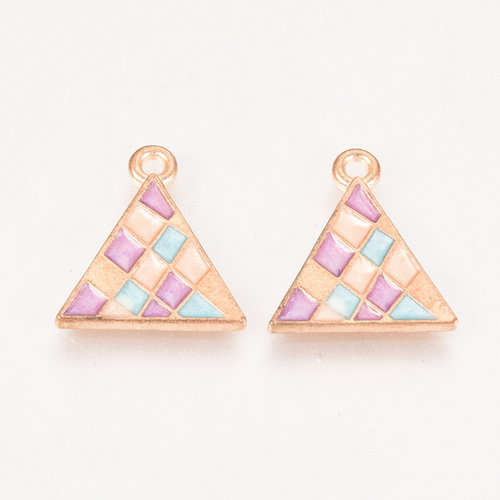 Triangle Charm Gold Blue Pink 17x15mm
