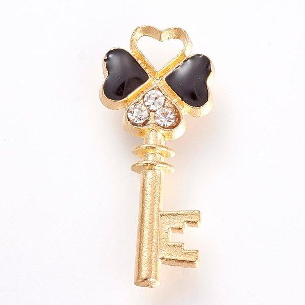 Key Charm Gold and Black with Rhinestones 26x11mm