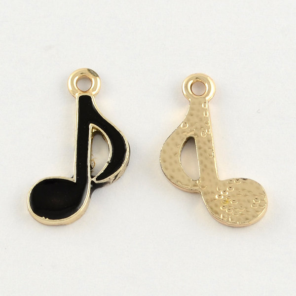 Musical Note Charm Gold Black 20x12mm
