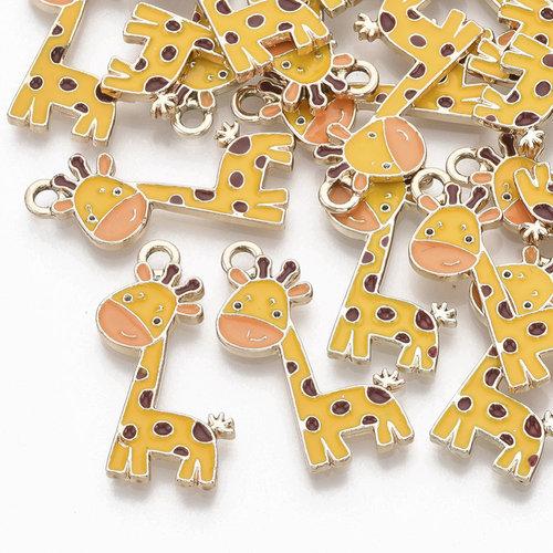 Giraffe Charm Gold Yellow  27x12mm