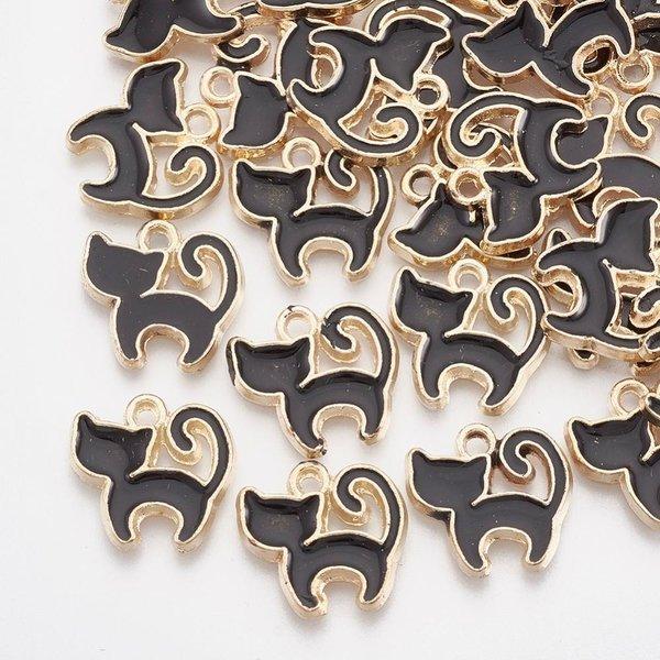 Silhouette Cat Charm Gold Black 12x12mm