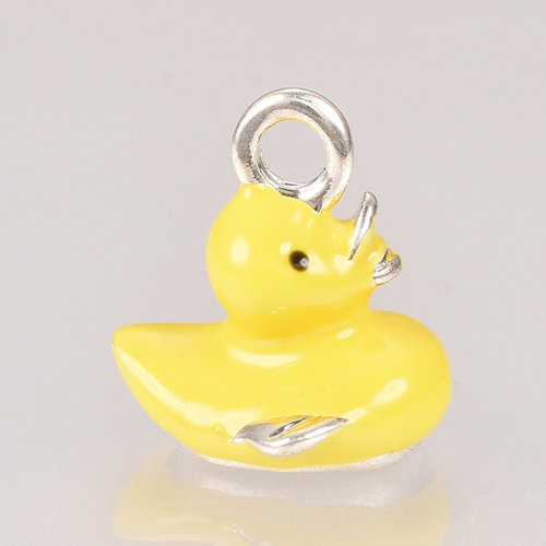 Duck Charm Silver Yellow 13x12mm