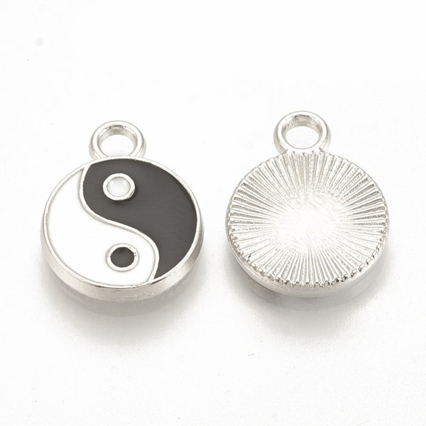 Bedel Yin Yang Zilver 16x12mm