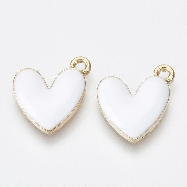 Heart Charm Gold White  Nickel Free 16x15mm