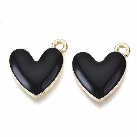 Heart Charm Gold Black Nickel Free 16x15mm
