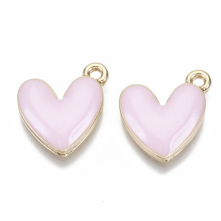 Heart Charm Gold Pink Nickel Free 16x15mm