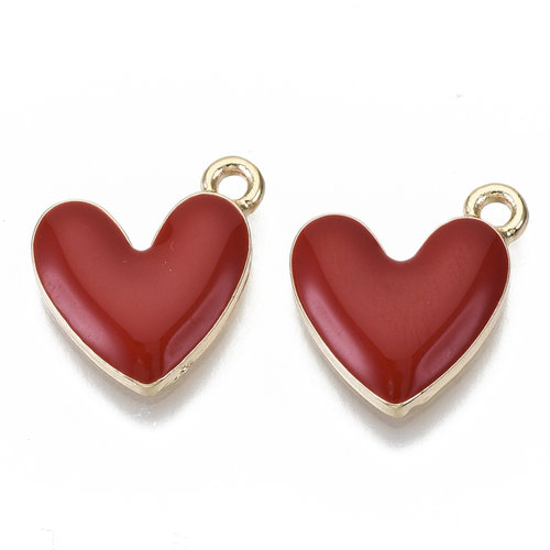 Heart Charm Gold Red Nickel Free 16x15mm