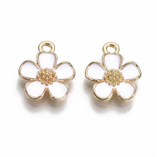 Flower Charm Gold White Nickel Free 16x13mm
