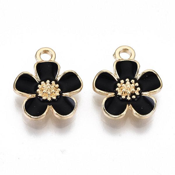 Flower Charm Gold Black Nickel Free 16x13mm