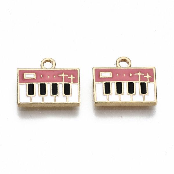 Bedel Piano Goud Roze Wit Nikkelvrij 14x13mm