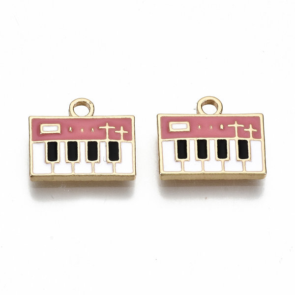 Piano Charm Gold Pink White Nickel Free 14x13mm