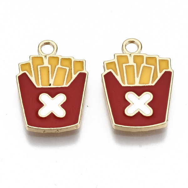 French Fries Charm Gold Red Yellow Nickel Free 18x13mm