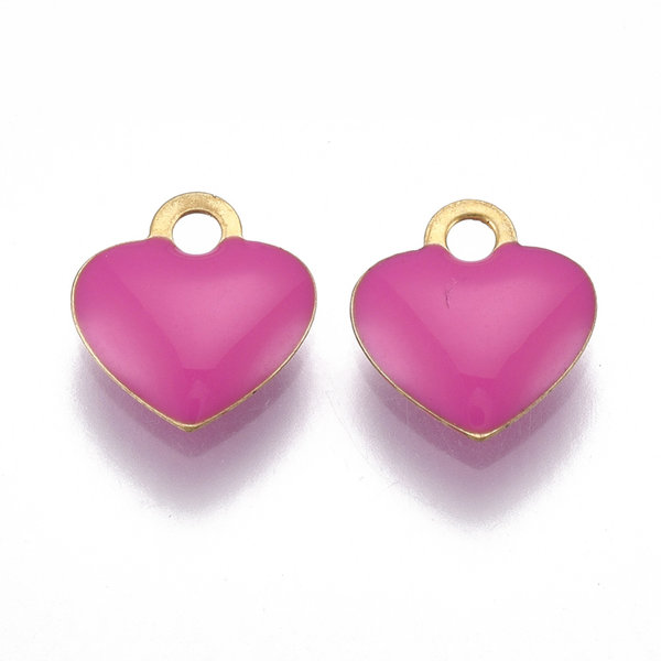 Heart Charm Gold Pink 10x9mm