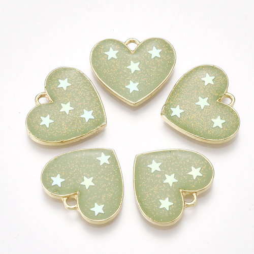 Heart with Stars  Charm Gold Green 15.5x17.5mm