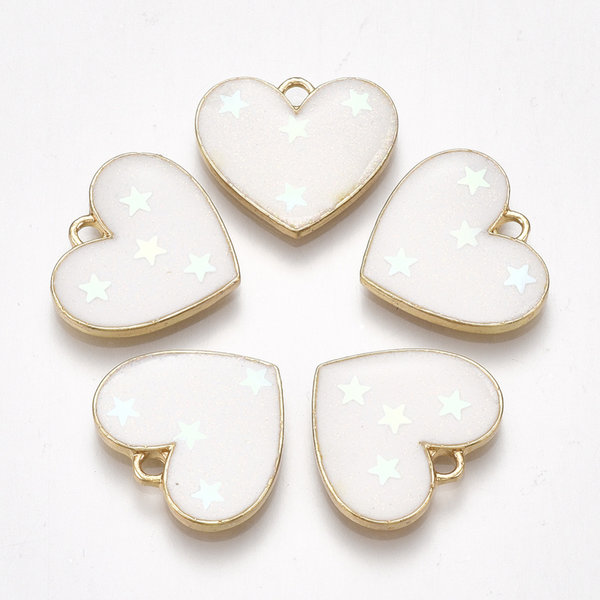 Heart with Stars  Charm Gold White 15.5x17.5mm