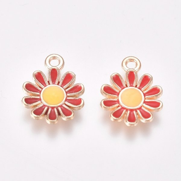 Daisy Charm Gold Red Yellow 15x11.5mm