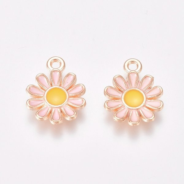 Daisy Charm Gold Pink Yellow 15x11.5mm