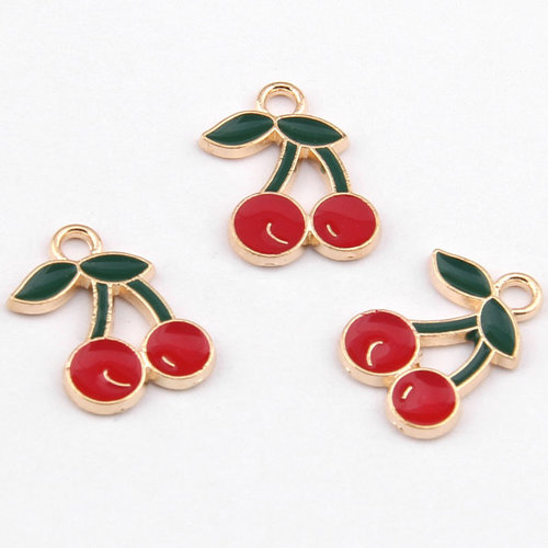 Cherries Charm Gold Red Green 13x18mm