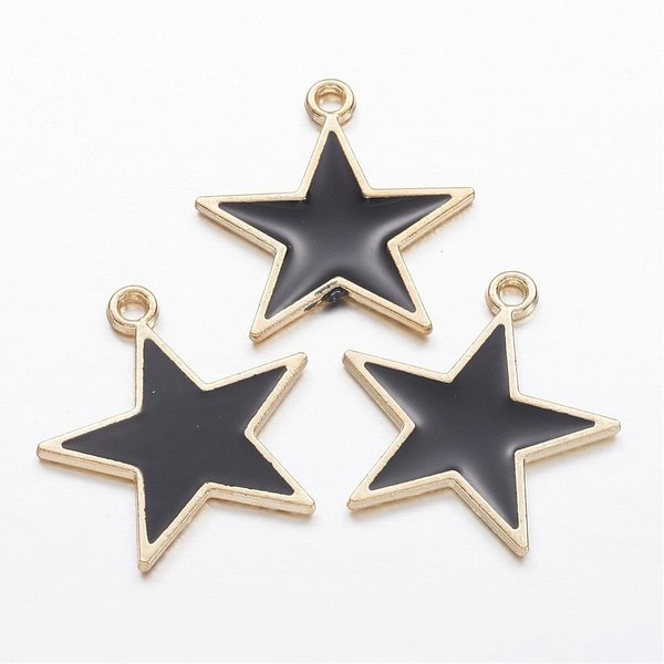 Star Charm Gold and Black 20.5x19.5mm