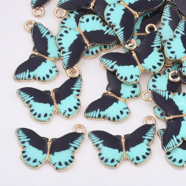 Butterfly Charm Gold Turquoise Black 14x20mm