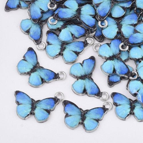 Bedel Vlinder Zilver Blauw Zwart 13.5x20mm