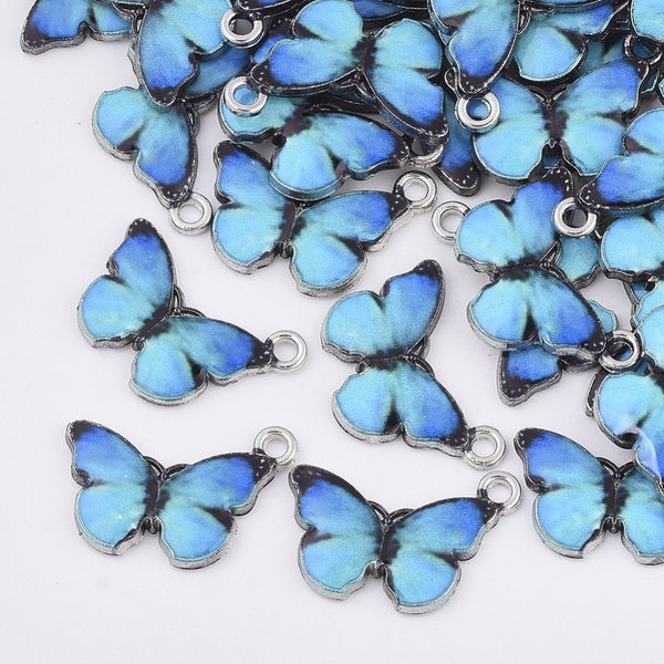 Butterfly Charm Silver Blue Black 13.5x20mm