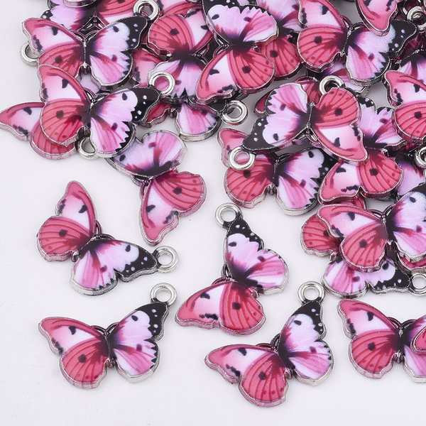 Butterfly Charm Silver Pink Black 13.5x20mm