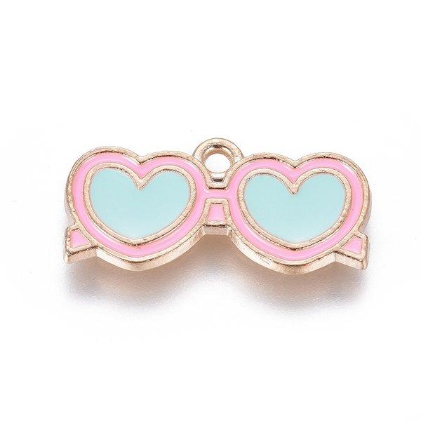 Sunglass Charm Heart Gold Blue Pink 21.5x10.5mm