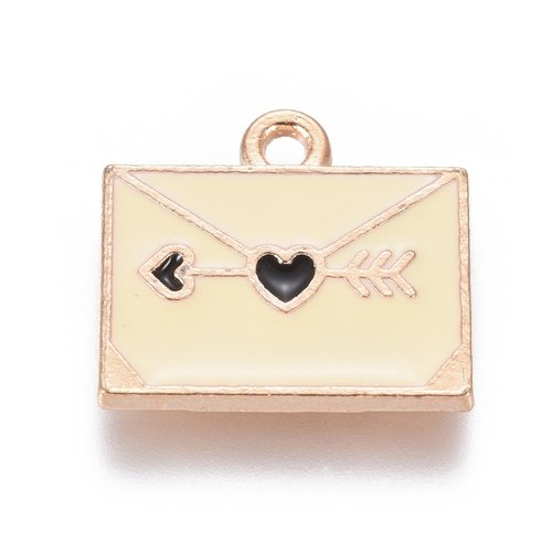 Envelope with Heart Charm Gold Yellow 14x15mm