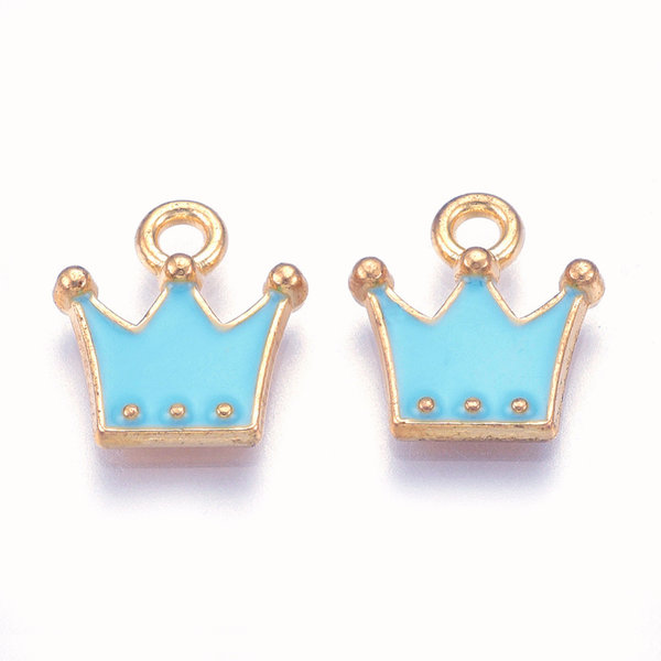 Crown Charm Gold Blue 11.5x10.5mm