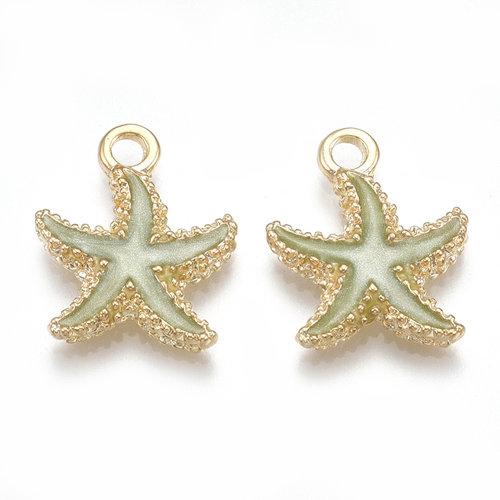 Starfish Charm Gold Green 17.5x14.5mm
