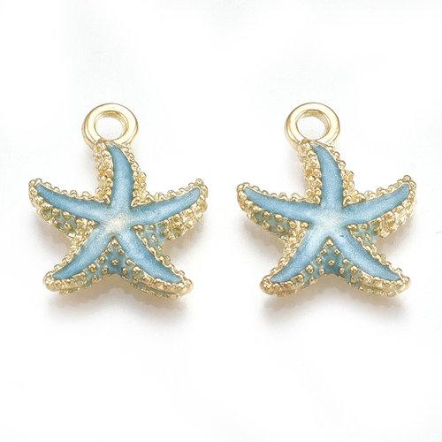 Starfish Charm Gold Blue 17.5x14.5mm