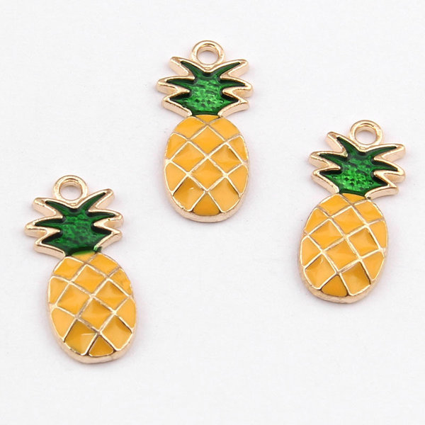 Charm Pineapple Gold Yellow 25x10mm