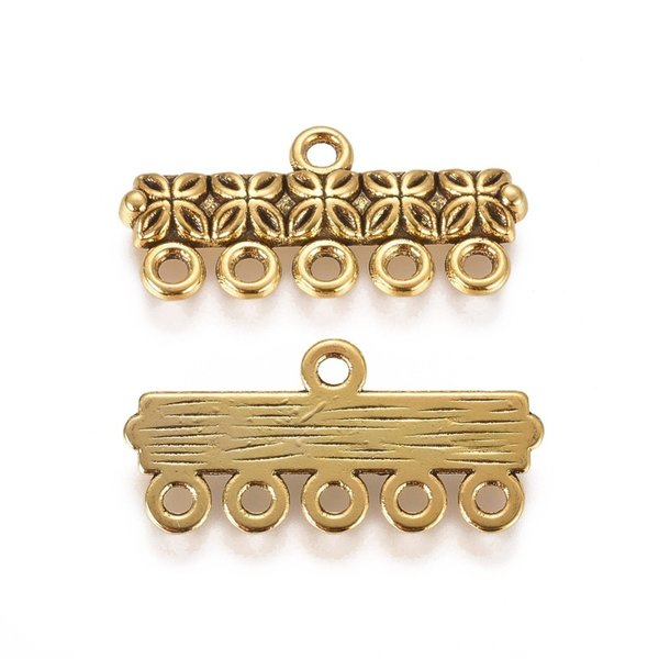 4 pieces Connector Tibetan Style Gold 25x12mm with 5 eyes