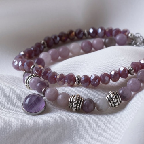 Lilac Jade Gemstone Bracelet