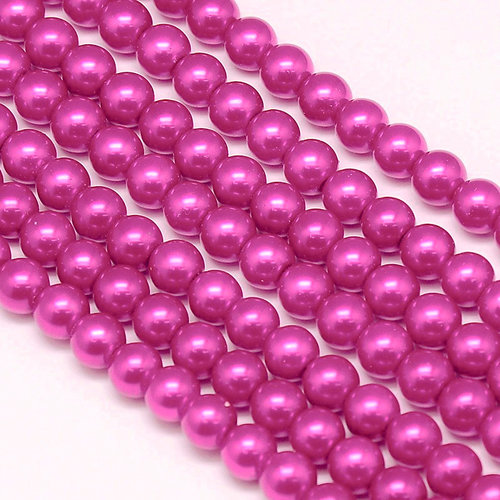 Strand 72  pieces Top Quality Glass Pearls 6mm Deep Fuchsia