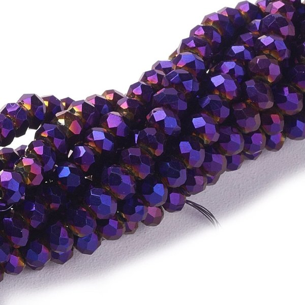 Faceted Glassbeads Metallic Purple Shine 8x6mm, 30 pieces