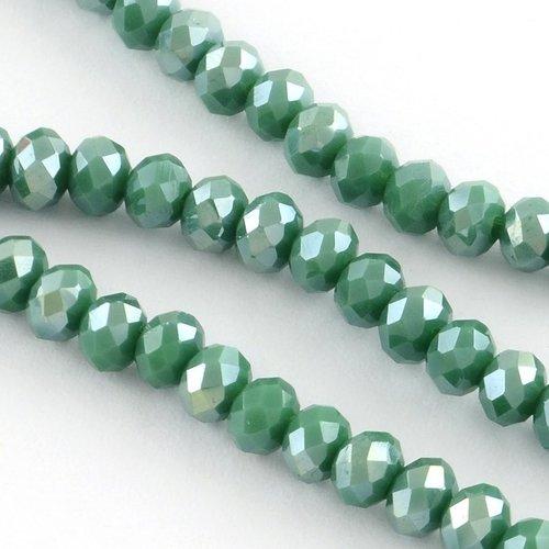 30 pcs Faceted Bead Dark Green Shine 8x6mm
