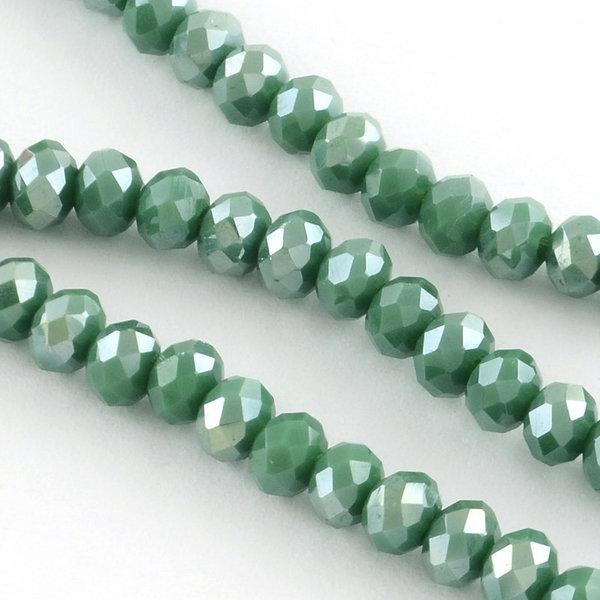 50 stuks Facet Glaskralen Olijf Groen Shine 6x4mm