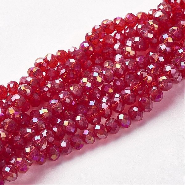 Faceted Glassbeads Red Shine 8x6mm, 30 pieces