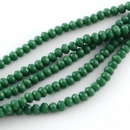 50 stuks Facetkralen Donker Groen 6x4mm
