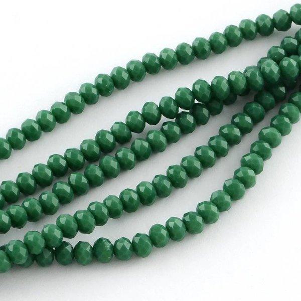 50 stuks Facet Glaskralen Donker Groen 6x4mm