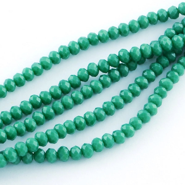 50 pcs Faceted Glassbeads Green 6x4mm