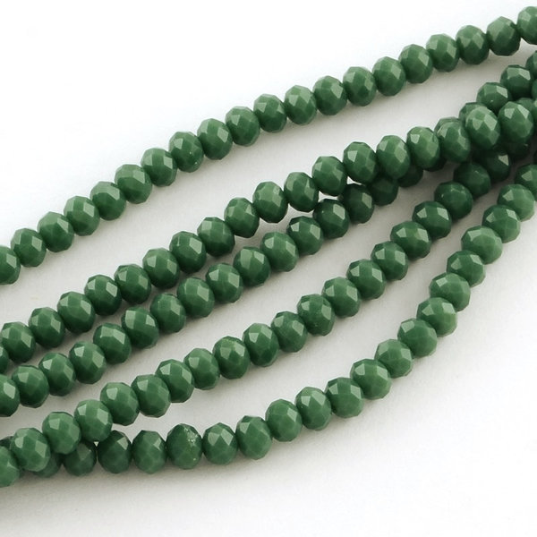 50 pcs Faceted Beads Army Green 6x4mm