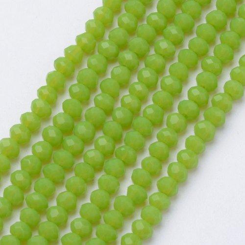 50 stuks Facetkralen Licht Gras Groen 6x4mm