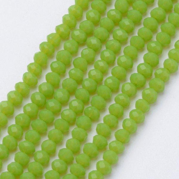 50 stuks Facet Glaskralen Licht Gras Groen 6x4mm