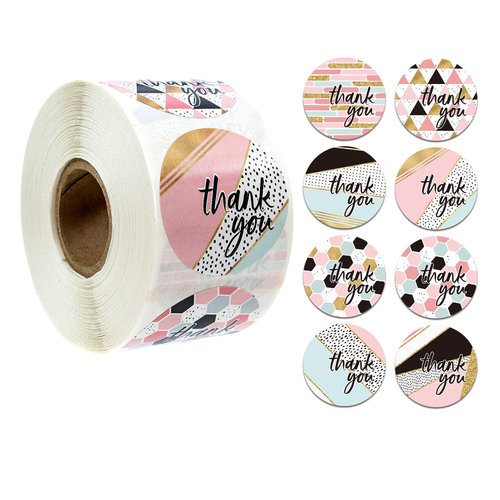"Round Seal Stickers ""Thank You"" 25mm"